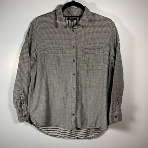 Madewell Black and White Checkered Button Up Sz M
